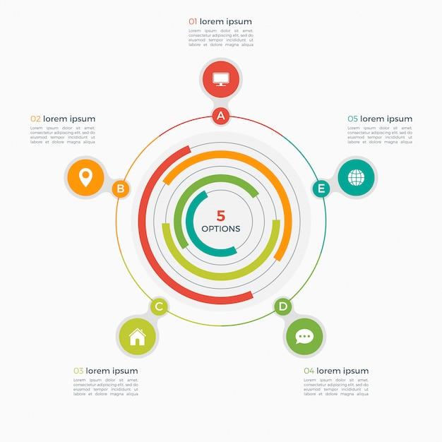 Vector infographic sjabloon met geïntegreerde cirkels Premium Vector
