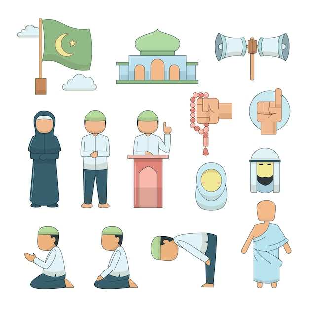 Vector islamitische pictogrammen instellen. Premium Vector
