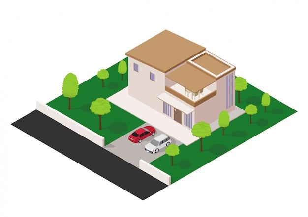 Vector isometrisch modern huis Premium Vector