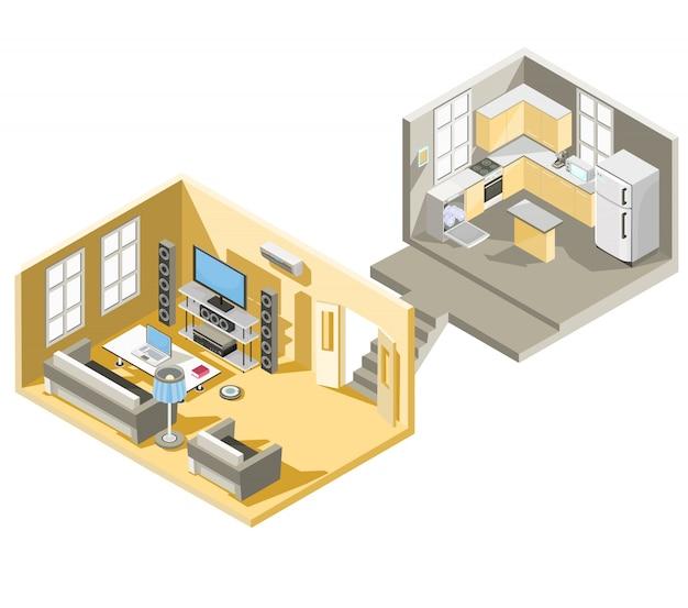 Vector isometrisch ontwerp van een woonkamer en keuken Gratis Vector