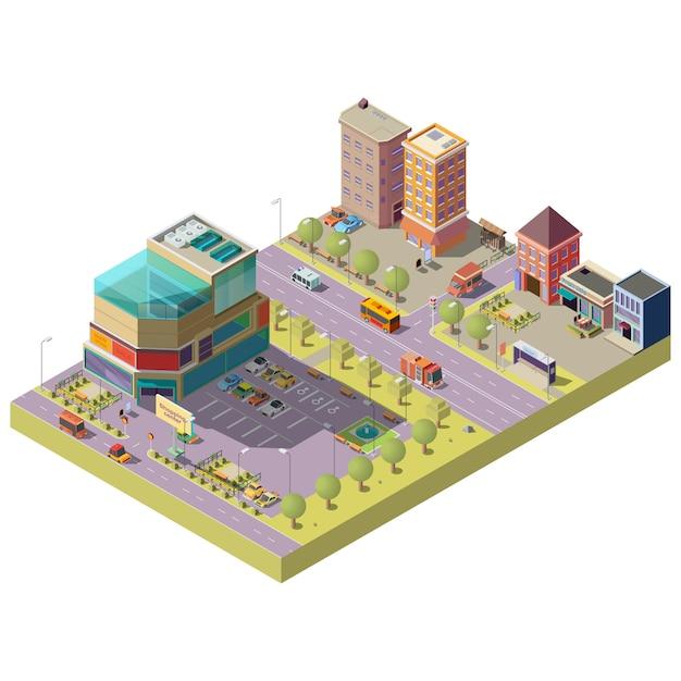 Vector isometrisch stadscentrum met winkelcomplex Gratis Vector