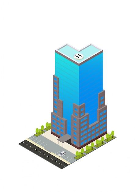 Vector isometrische hotel, appartement of wolkenkrabber gebouw Premium Vector