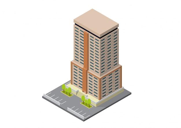 Vector isometrische hotel, appartement, school of wolkenkrabber gebouw Premium Vector