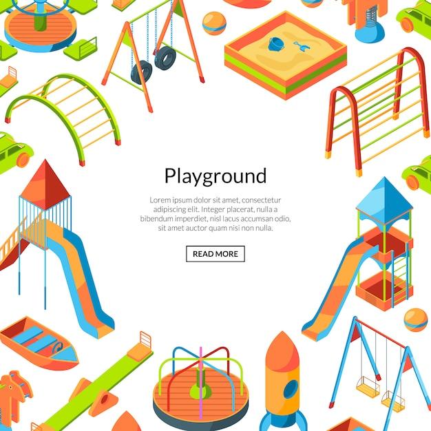 Vector isometrische speeltuin objecten. gelukkige jeugd frame achtergrond met tekstsjabloon Premium Vector
