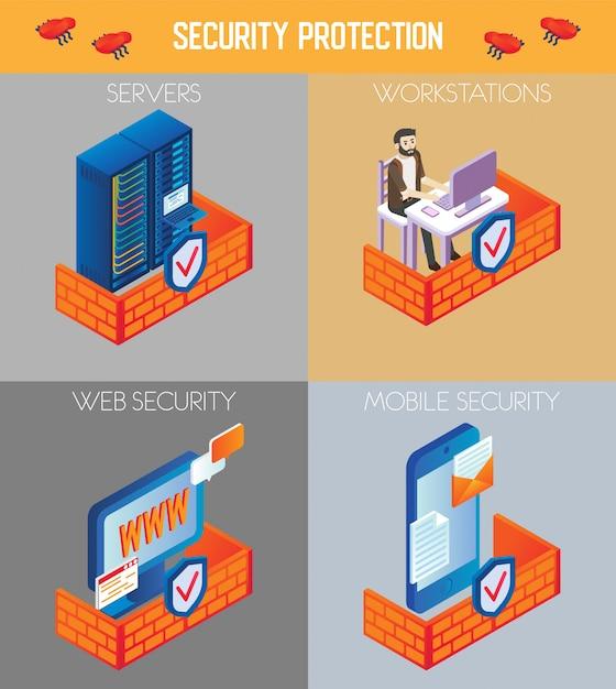 Vector isometrische veiligheidsbescherming pictogramserie Premium Vector