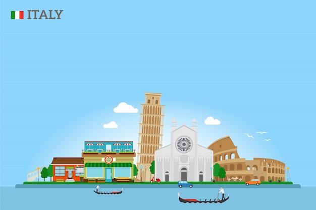 Vector italië skyline en vlag Premium Vector