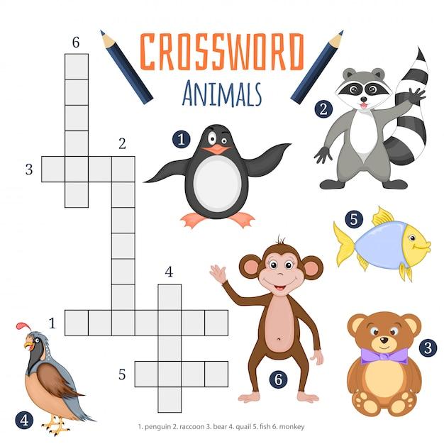 Vector kleur kruiswoordraadsel, educatief spel voor kinderen over dieren Premium Vector