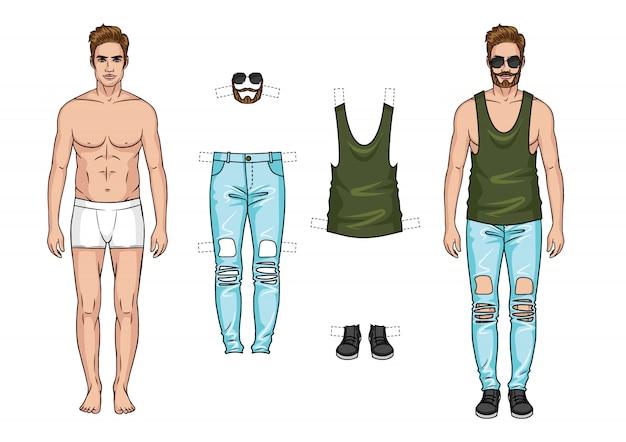 Vector kleurenillustratie. de man met een reeks kleren op witte achtergrond wordt geïsoleerd die. Premium Vector