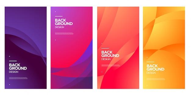 Vector kleurrijke abstracte vloeibare geometrische verloop achtergrond Premium Vector