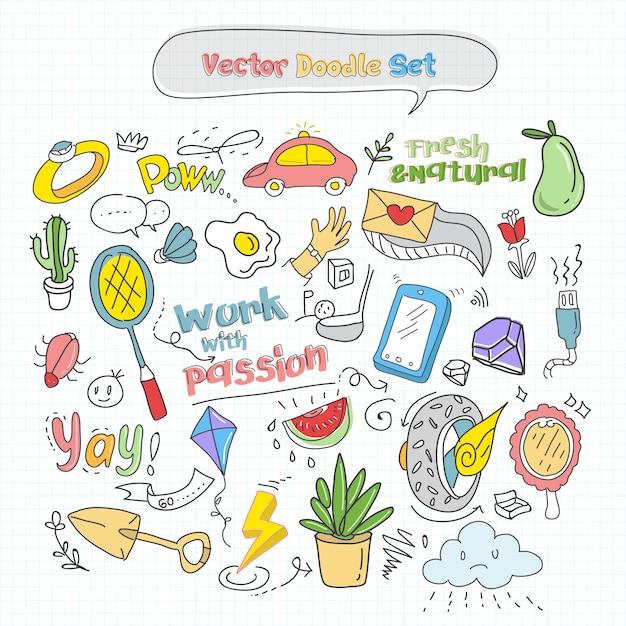 Vector kleurrijke doodle set Premium Vector