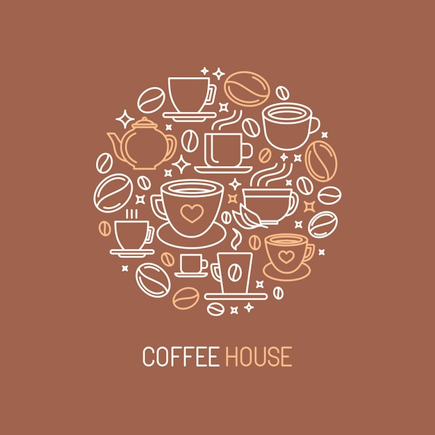 Vector koffie huis logo concept Premium Vector