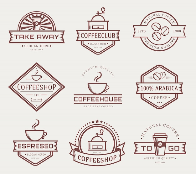 Vector koffie logo sjabloon set Premium Vector