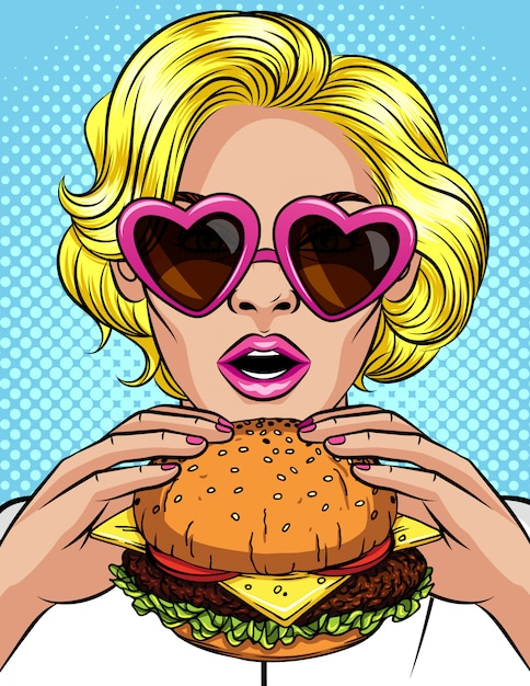 Vector komische de stijlillustratie van het kleurenpop-art van een meisje die een cheeseburger eten. mooie bedrijfsvrouw die een grote hamburger houdt. succesvolle jonge dame met open mond bijt een enorme hamburger Premium Vector