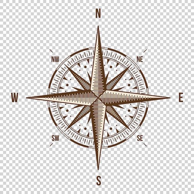 Vector kompas. hoge kwaliteit illustratie. oude stijl. Premium Vector