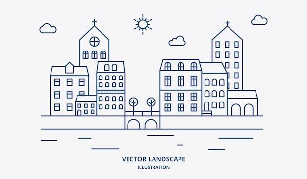 Vector landschap met huizen, gebouw, boom, lucht. landschap in de voorsteden. platte lijn ontwerp vector. Premium Vector