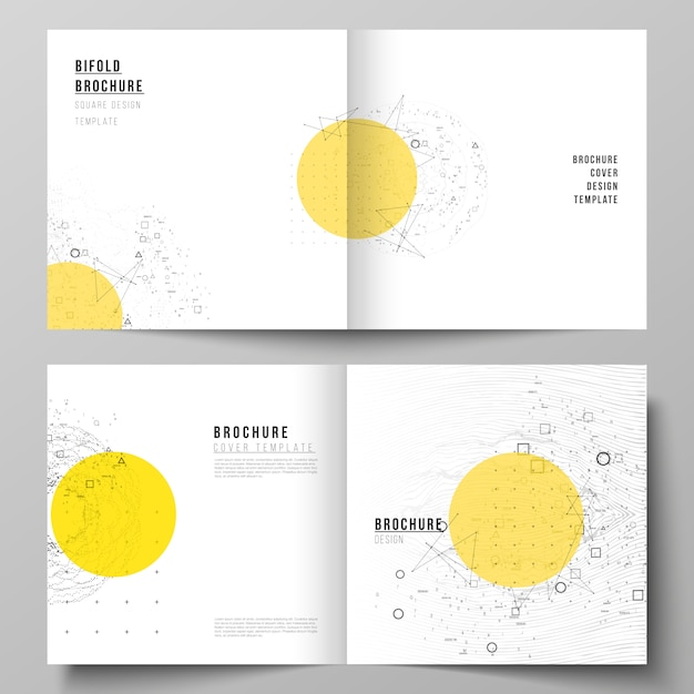 Vector lay-out van twee coversjablonen voor vierkante tweevoudige brochure, Premium Vector