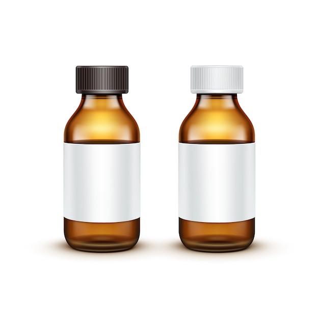 Vector leeg glas medische fles geïsoleerd Premium Vector