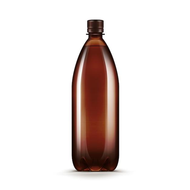 Vector lege bruine plastic het kwasfles van het waterbier die op witte achtergrond wordt geïsoleerd Premium Vector