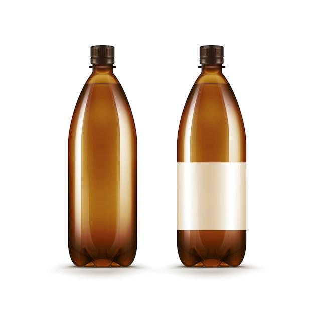 Vector lege bruine plastic water bier kvass fles Premium Vector