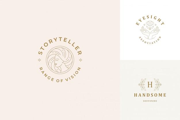 Vector lijn logo's emblemen ontwerpsjablonen set - vrouwelijk gezicht en gebaar handen illustraties eenvoudige minimale lineaire stijl Premium Vector