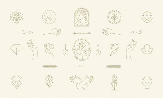 Vector lijn vrouwelijke decoratie ontwerpelementen set - vrouwelijk gezicht en gebaar handen illustraties eenvoudige lineaire stijl Premium Vector