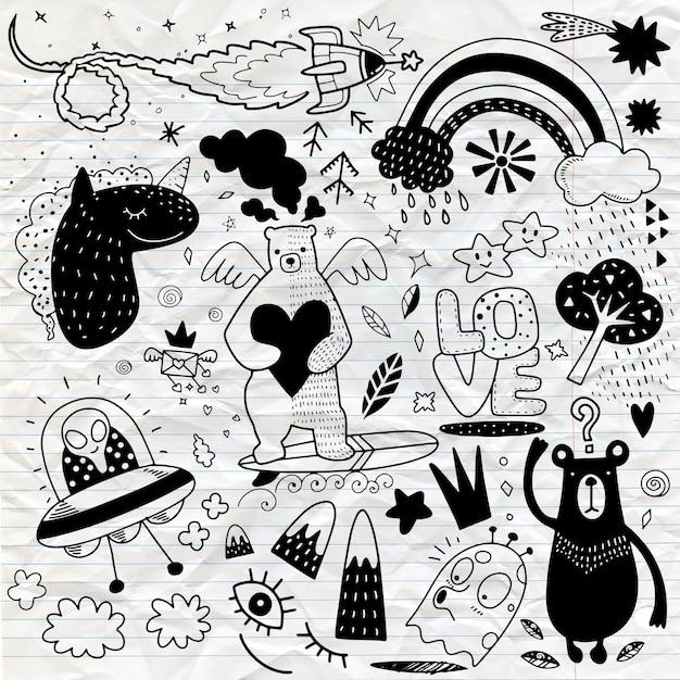Vector lijntekeningen doodle cartoon set objecten en symbolen vol.4, hand tekenen doodle Premium Vector