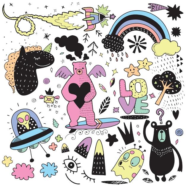 Vector lijntekeningen doodle cartoon set objecten en symbolen Premium Vector