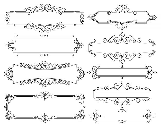 Vector lineaire frames voor huwelijksuitnodigingen Premium Vector
