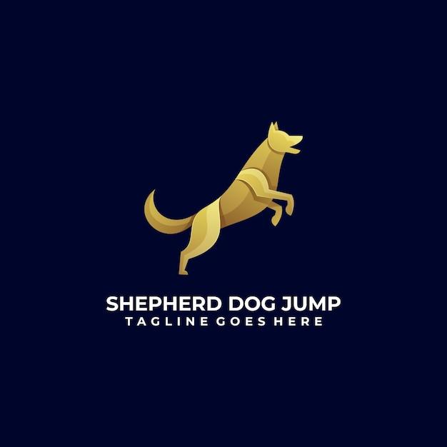 Vector logo afbeelding hond sprong kleurovergang kleurrijke stijl. Premium Vector