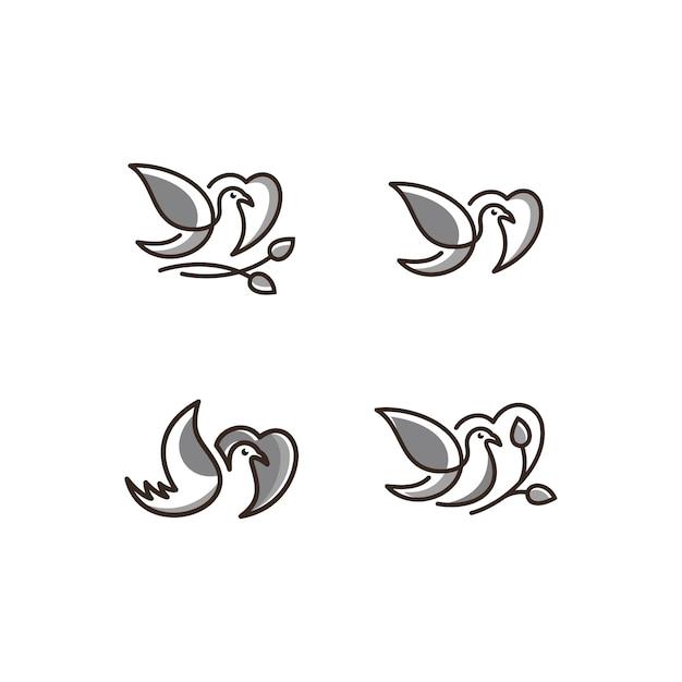 Vector logo van vogels pictogram lijntekeningen grijze kleur Premium Vector