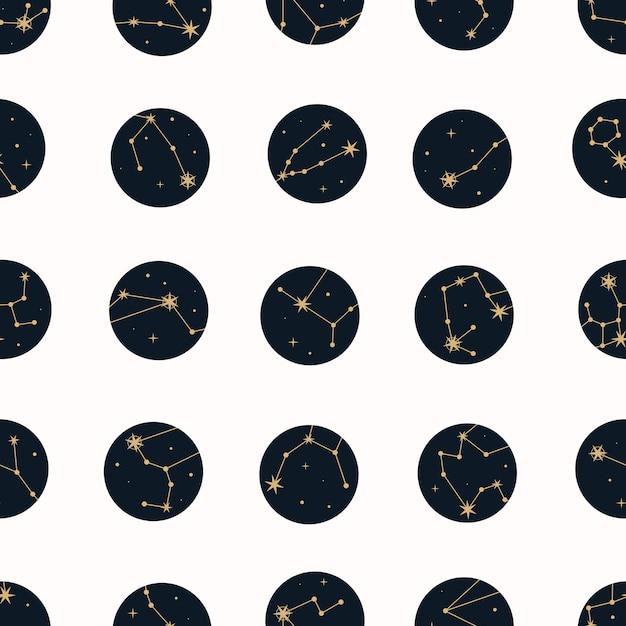 Vector magisch naadloos patroon met sterrenbeelden en sterren. Premium Vector