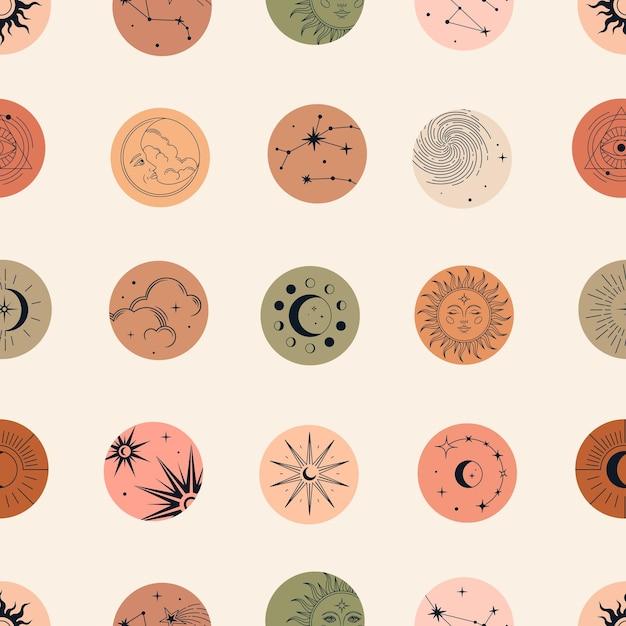 Vector magisch naadloos patroon met sterrenbeelden, zon, maan, magische ogen, wolken en sterren. Premium Vector