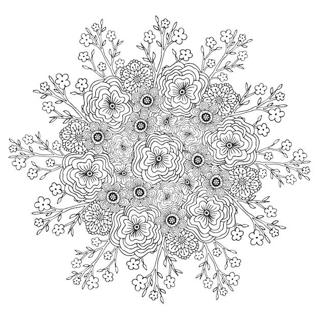 Vector mandala met bloemenpatroon. volwassen kleurboekpagina. bloemenontwerp voor decoratie. Premium Vector