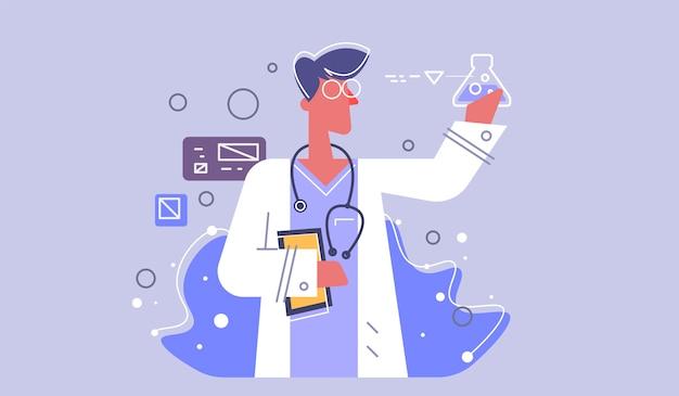 Vector medische pictogram arts. arts met een stethoscoop. medic illustratie in een vlakke stijl. Premium Vector