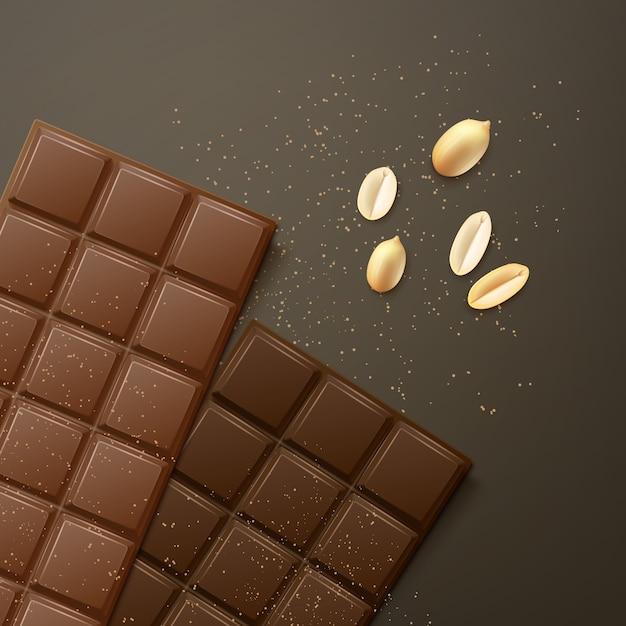 Vector melk en bittere chocoladerepen met pinda's, bovenaanzicht geïsoleerd op donkere achtergrond Gratis Vector