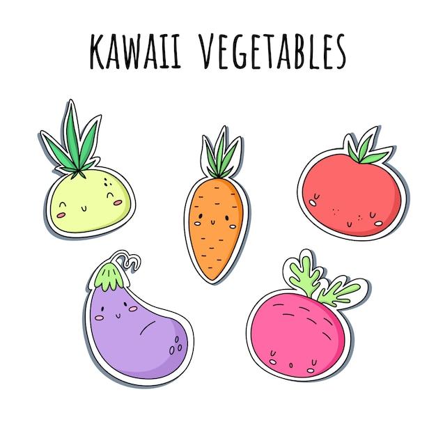 Vector met kawaiigroenten wordt geplaatst dat. stickers. uien, wortelen, tomaat aubergine bieten Premium Vector