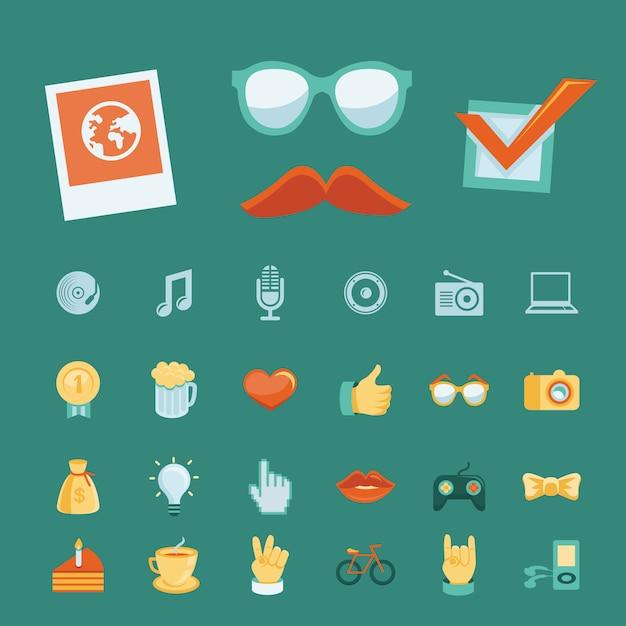 Vector met trendy hipster pictogrammen en tekens wordt geplaatst die Premium Vector