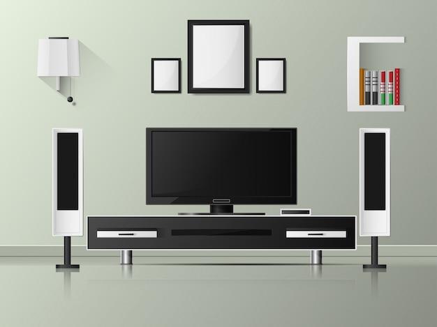 Vector minimalistische moderne witte tv plank met boeken en frame