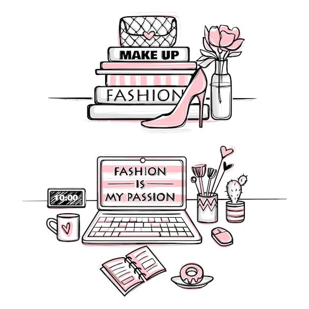 Vector mode illustratie. desktopconcept voor meisjes. stijlvolle werkplek. Premium Vector