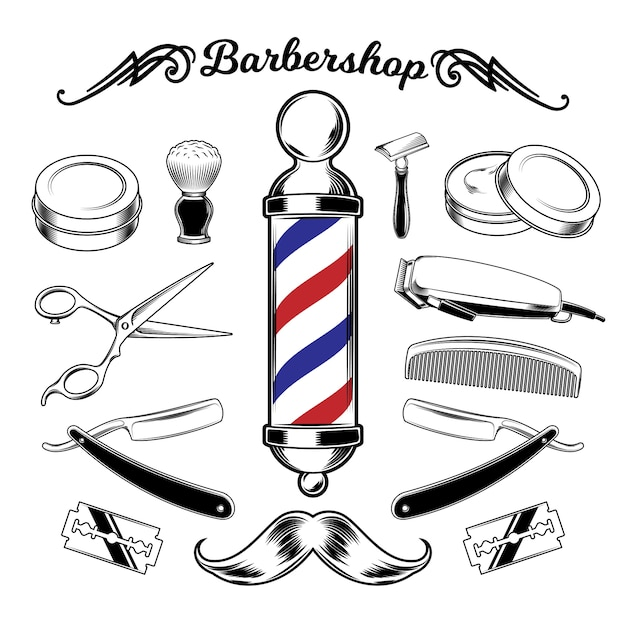 Vector monochroom collectie barbershop tools. Gratis Vector