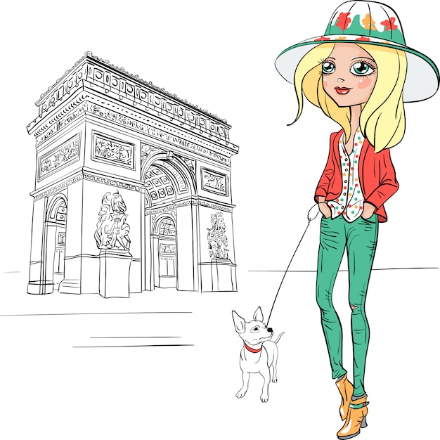 Vector mooie mode meisje in parijs Premium Vector