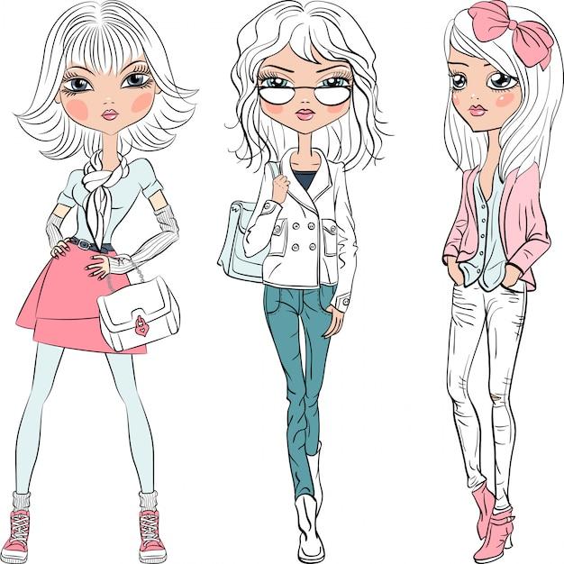 Vector mooie mode meisjes topmodellen Premium Vector