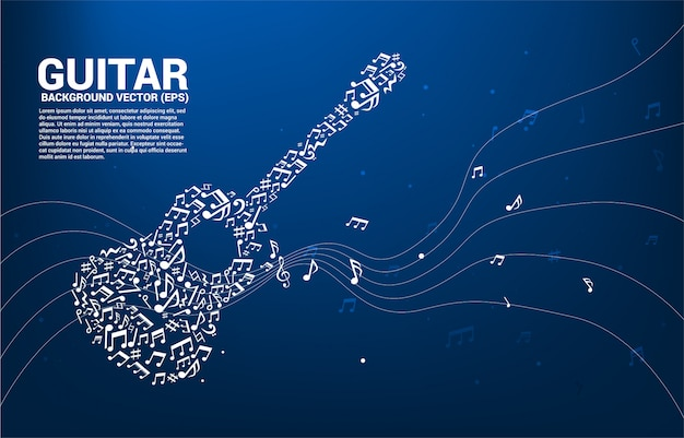 Vector muziek melodie noot dansen stroom vorm gitaar pictogram Premium Vector