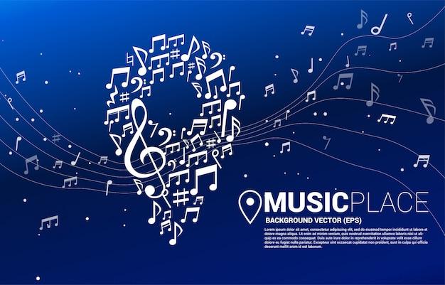 Vector muziek melodie notitie gevormde pin pictogram. concept voor muziekfestival en concertlocatie. Premium Vector