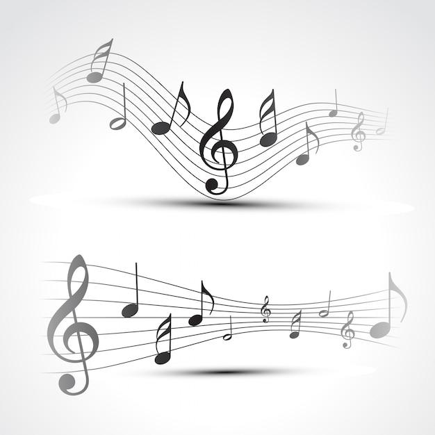 Vector muziek notitie achtergrond illustratie Gratis Vector