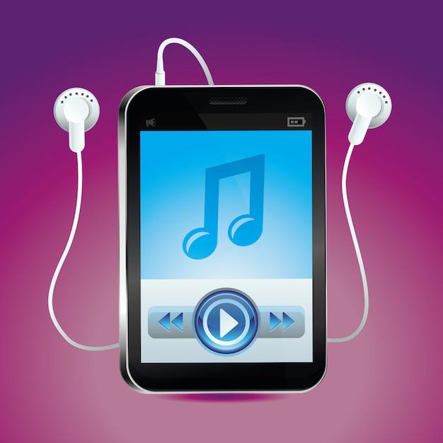 Vector muziekspeler met touchscreen en play-knop Premium Vector