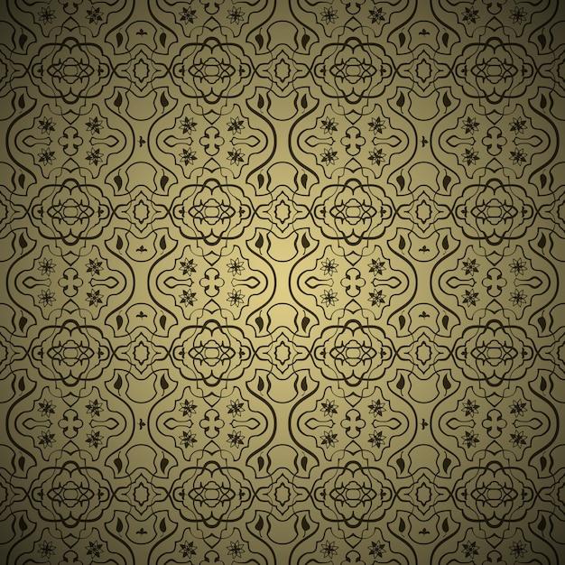 Vector naadloos arabisch patroon als achtergrond. goud en zwart Gratis Vector