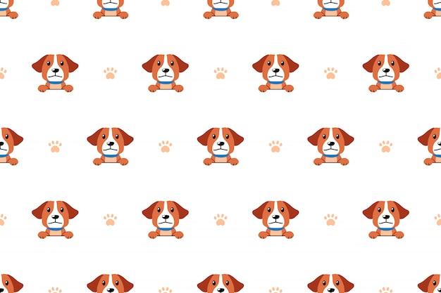 Vector naadloos de hond naadloos patroon van het beeldverhaalkarakter Premium Vector