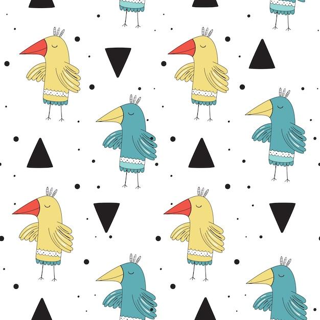 Vector naadloos patroon in skandinavische stijl. mooie vogels. Premium Vector