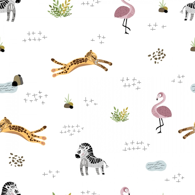 Vector naadloos patroon met afrikaanse dieren Premium Vector